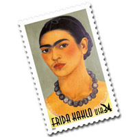 U. S. Postal stamp showing Mexican artist Frida Kahlo